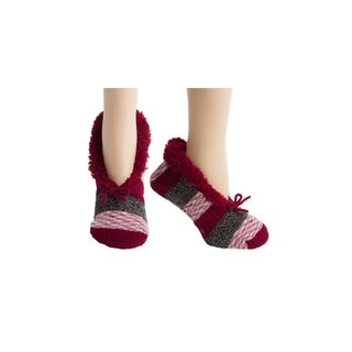 Crimson Red Chunky Knit Faux Fur Slipper Socks