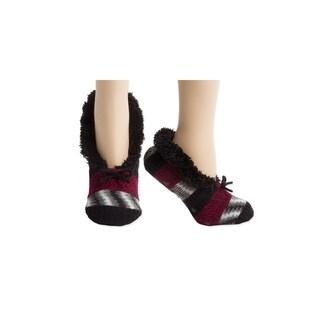 Smoky Black Chunky Knit Faux Fur Slipper Socks