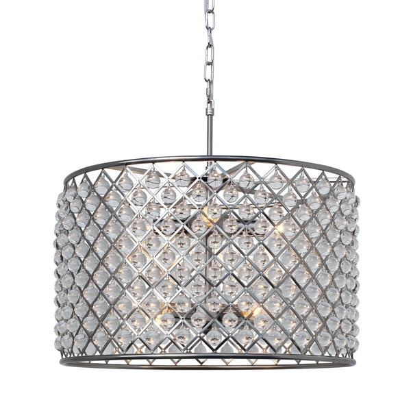 Cassiel Crystal Drum Chandelier Brushed Nickel