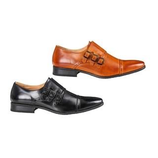 UV Signature Men's Triple Monk Strap Cap Toe Brogue Dress Shoes