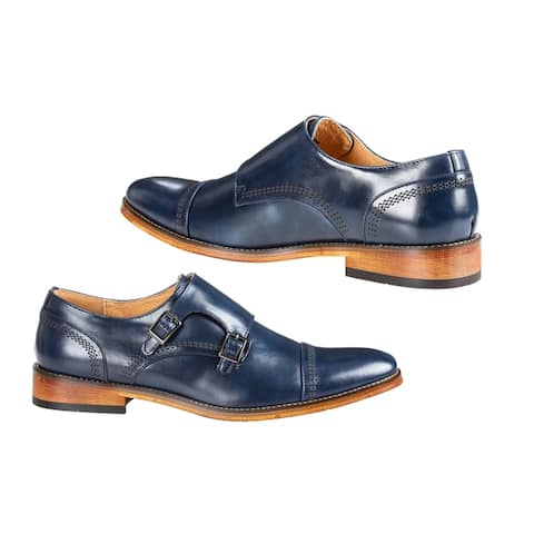 UV Signature Men's Double Monk Strap Cap Toe Dress Shoes