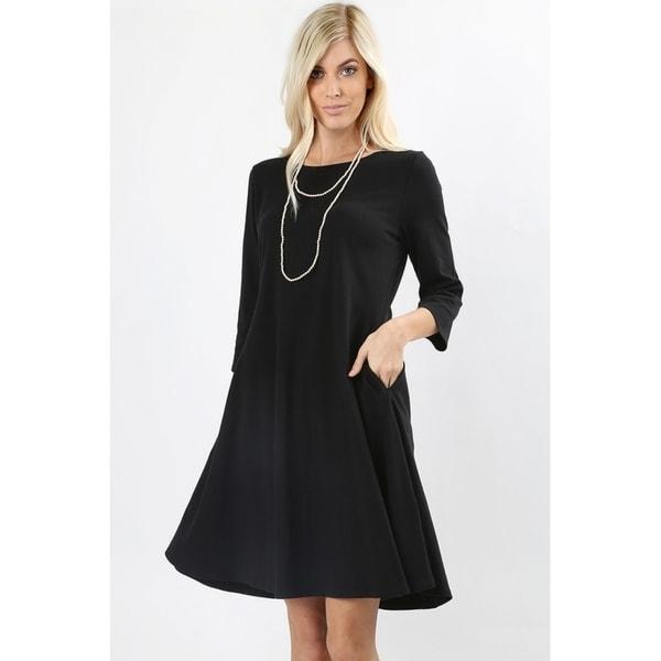 Shop JED Women s 3 4 Sleeve Classic A-Line Short Dress with Pockets ... fdb3463ecd