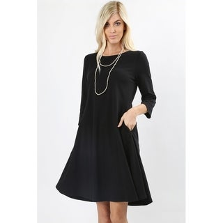 JED Women's 3/4 Sleeve Classic A-Line Short Dress with Pockets