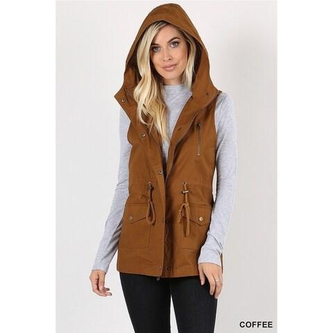 JED Women's Cotton Drawstring Sleeveless Hoodie Vest