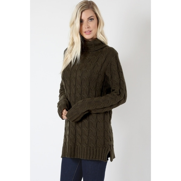 Shop Jed Womens Chunky Cable Knit Turtleneck Sweater On Sale