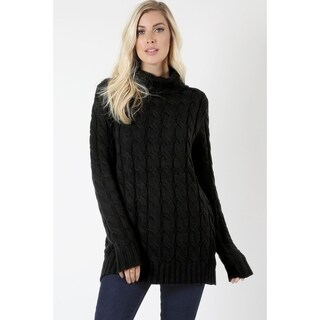 JED Women's Chunky Cable Knit Turtleneck Sweater
