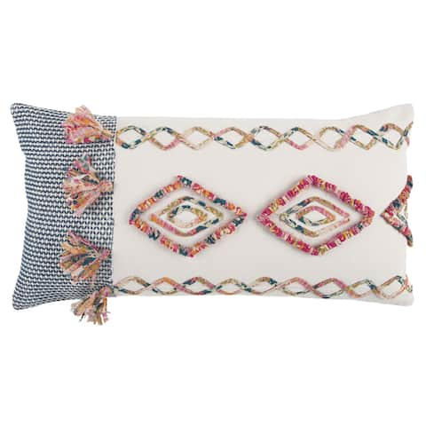 "Rizzy Home Navy /Multi One of A Kind Geometric Decorative Polyester Filled Pillow - (14"" x 26"")"