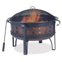 34in Steel/Brushed Copper Wood Burning Outdoor Firebowl