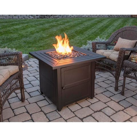 LP Gas Outdoor Fire Pit with Steel Mantel