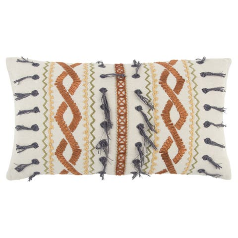"Rizzy Home Orange /Multi One of A Kind Geometric Decorative Polyester Filled Pillow - (14"" x 26"")"
