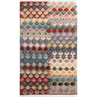 "Moroccan High-Low Pile Arya January Ivory/Rust Wool Rug (4'3 x 6'7) - 4' 3"" x 6' 7"""