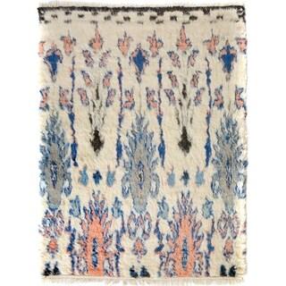 "Moroccan Arya Jackson Ivory/Blue Wool Rug (8'0 x 9'8) - 8' 0"" x 9' 8"""