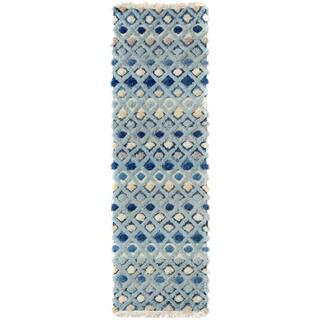 Moroccan High Low Pile Arya Al Blue Gray Wool Runner 2 8