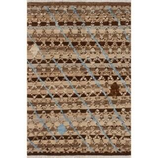 "Moroccan High-Low Pile Arya Honey Tan/Brown Wool Rug (6'6 x 9'2) - 6' 6"" x 9' 2"""