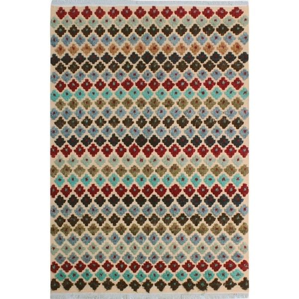 Shop Moroccan High Low Pile Arya Trey Beige Blue Wool Rug