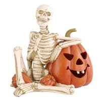 "9"" Lighted Skeleton and Pumpkin Halloween Décor"