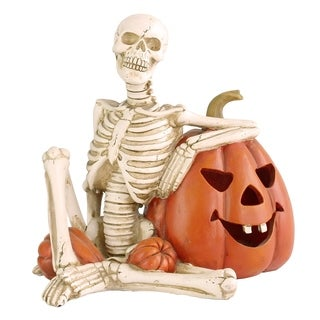 "9"" Lighted Skeleton and Pumpkin Halloween Décor"