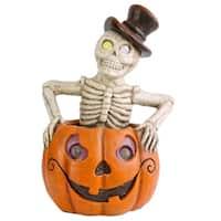 "15"" Lighted Pumpkin and Skeleton Halloween Decor"