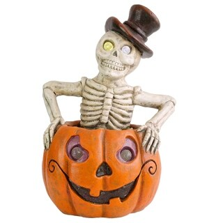 "15"" Lighted Pumpkin and Skeleton Halloween Decor"