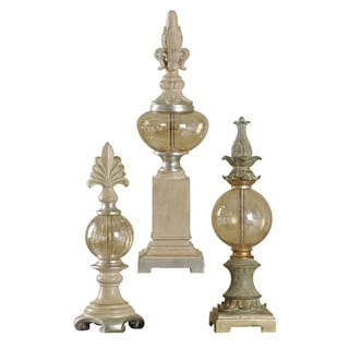 Canton with Plated Glass Finials Sculptures (Set of 3)