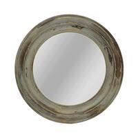 Distressed Round Fir Wood Antique Blue Mirror