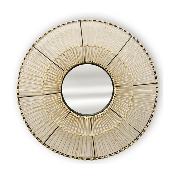 Natural Woven Round Black Frame and Natural Fibers Wall Mirror - A
