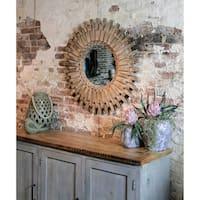 StyleCraft Natural Picket Round Aged Wood Wall Mirror