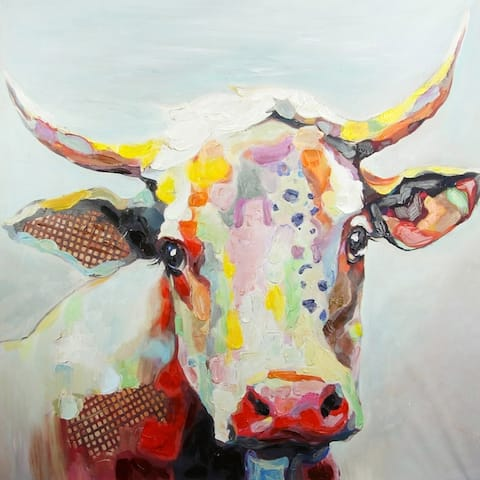 StyleCraft Colorful Cow Hand-Embellished Printed Canvas Wall Art