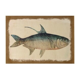 StyleCraft Fish Burlap Wrapped Printed And Hand Painted Stretched Canvas Wall Art - Multi