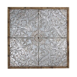 StyleCraft Punched Tin Ceiling Tiles Natural Wood Frame Wall Art