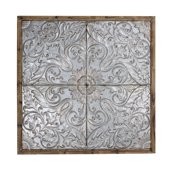 Punched Tin Ceiling Tiles Natural Wood Frame Wall Art