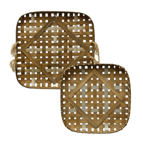 Woven Strippings Farmhouse Style Metal and Wood Strip Basket Trays (Set of 2)