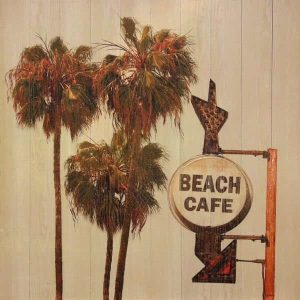 shop beach café printed on wooden slat wall art free shipping