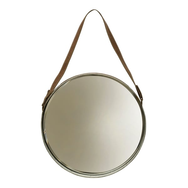 Leather Belted Farmhouse Round Silver Frame Wall Mirror Free Shipping Today 20968188
