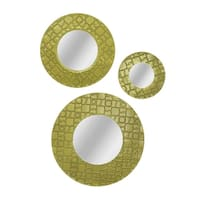 Patterned Round Tahitian Gold Finish Framed Wall Mirrors (Set of 3)