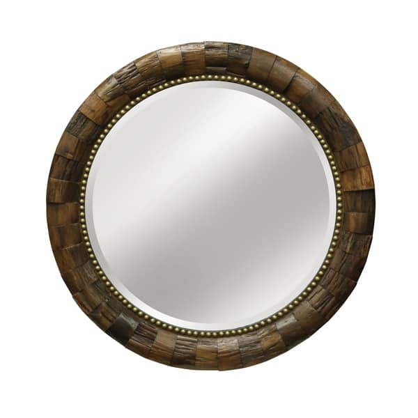 Shop Round Natural Wood With Nail Head Trim Mirror Overstock 20968206