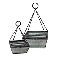 Decorative Gray Metal Basket (Set of 2)