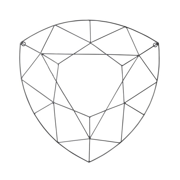 Multi Facet Diamond Shape Silver Metal Wall Art