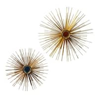 Starburst Gold With Colored Centers Metal Wall Décor (Set of 2)