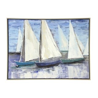 StyleCraft Sailboats Heavy Textured Hand Painting Low Profile Silver Frame Stretched Canvas Wall Art