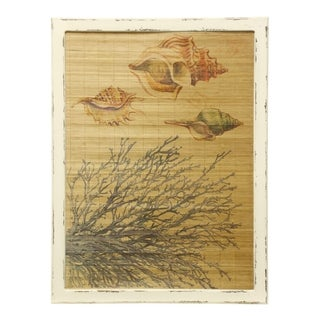 Seashell And Coral Bamboo Screen White Wood Frame Printed Wall Art