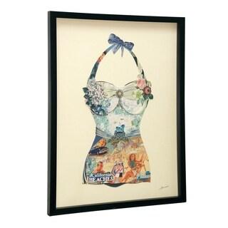 StyleCraft Dimensional Paper Bathing Suit Black Frame Wall Art