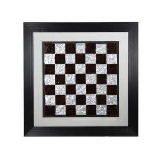 StyleCraft Checker Board Fused Glass Wall Art - Black