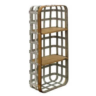 StyleCraft Industrial Functional Wall Hanging Metal and Wood Shelf