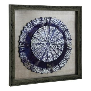StyleCraft Wood Shadow Box Frame Painted Glass Charger Wall Art