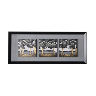 StyleCraft Oil Paintings Mounted On One Black Frame Wall Art (Set of 3)