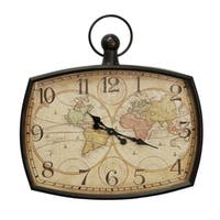 Aged Geographic Map and Wall Clock
