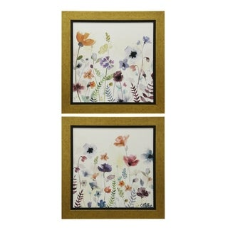 StyleCraft Floral Gold Gel Coated Framed Prints Wall Art (Set of 2)