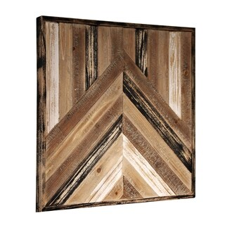 Painted Geometric Design Framed Reclaimed Wood Panel Wall Art