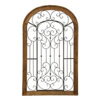 Multicolored Metal Scroll and Wood Gate Wall Decor